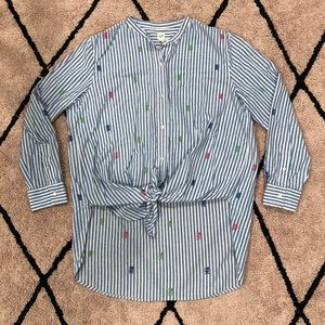 Gap Tie Front Button Down Embroidered Shirt